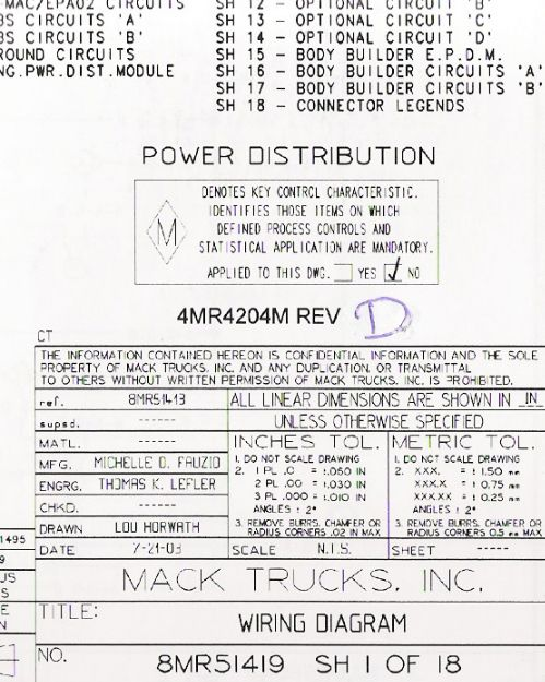 2004 - 2005 Mack Wiring Diagram Chassis CT